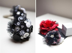 alternative black button bouquet