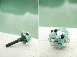 tiffany aqua button bouquet bridal