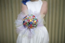bridal button bouquet rainbow