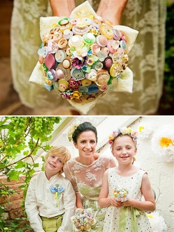 button bouquet pastel vintage wedding beaubuttons