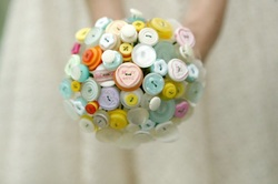 pastel love heart button bouquet