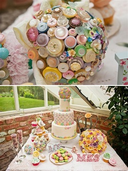 Beaubuttons pastel vintage wedding button bouquet