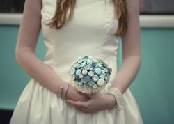 bridal button bouquet aqua