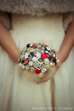 Vintage button bouquet UK Peachey Photography Vegas